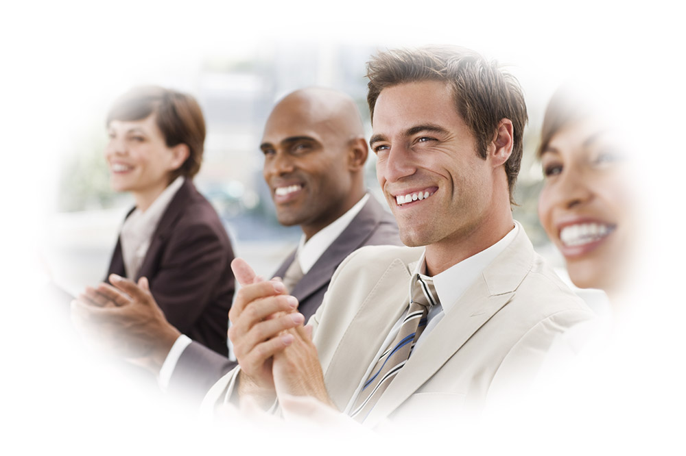 Closeup of happy businesspeople enjoying